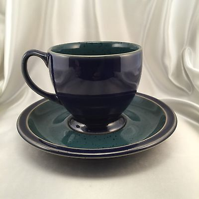 Denby HARLEQUIN Tea Cup Saucer - Blue Green Speckled - Signed Denby Classics
