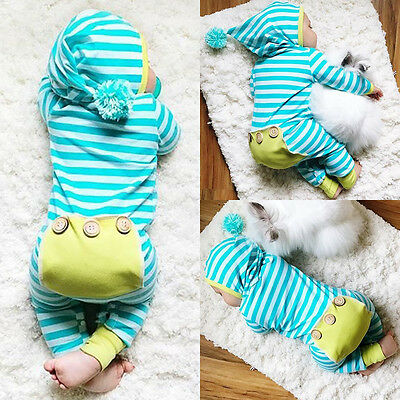 USA Newborn Baby Boys Girls Romper Bodysuit Jumpsuit Outfits Striped Clothes c