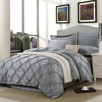 Alford Pinch Pleat Duvet/Quilt Cover Pillow Cases Double/King Size Bedding Set