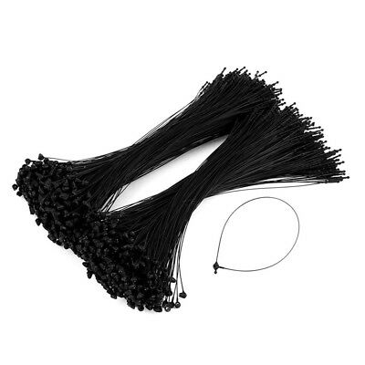 7 inch 1000 Pcs Black Snap Lock Pin Loop Plastic Tag Fastener Hook Ties Q7R5