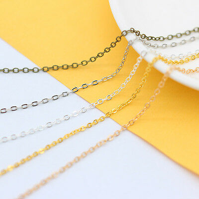 1.5mm gold/silver/bronze Flat Oval alloy necklace Link chain DIY Jewelry Finding