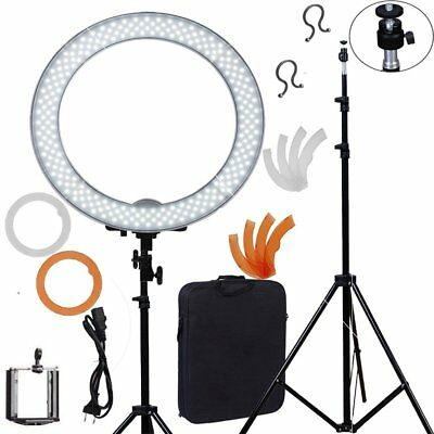 """Dimmable Diva LED Ring Light 18"""" 5500K With Diffuser + Light Stand F Video Photo"""