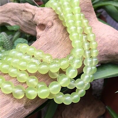4MM-12MM Natural Smooth Light Green Jade Round Gemstone Loose Beads 15'' AAA DIY