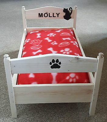 Handmade personalised wooden cat bed