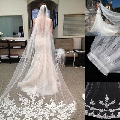 Lady White Ivory 1T Cathedral Applique Edge Lace Bridal Wedding Veil-Comb 3M UK