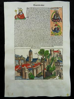 Athens Joseph Pharao Wife Potiphar Woodcut Nuremberg Chronicle Schedel 1493 J59