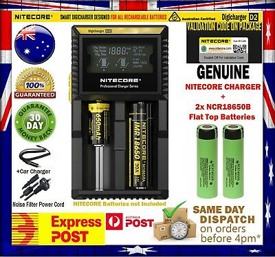 2x Panasonic NCR18650B 3400mAh Flat Top Battery +Nitecore D2 Intelligent Charger