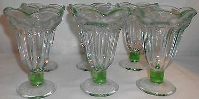 Vintage Soda fountain  green sundae glasses