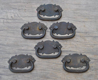 6pcs VINTAGE Iron handforged Drawer Chest drop lifting handle w back plate 2.9""
