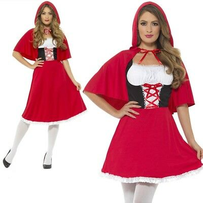 Ladies Red Riding Hood Costume Fairy Tale Fancy Dress Short UK 8-22