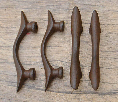 4 Pcs Vintage Victorian Cast Iron drawer cabinet screen handles Pull rustic 3.2""