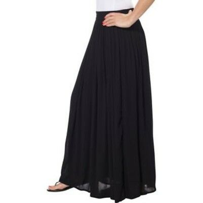 Ladies' Pull-on Skirt-Black, 100% Cotton, Medium, Flowy, Long Skirts with a Slip