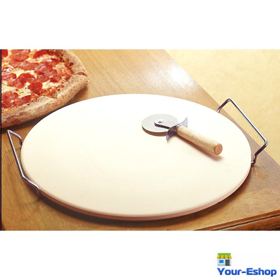 """Pizza Bread Baking Round Stone Kit For Oven 15 """" Large Bake Tool Accessories"""