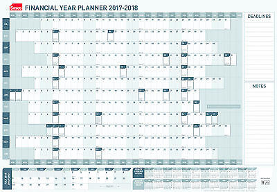 Sasco 2017 / 2018 Financial Year Wall Planner 870 x 610mm Unmounted 36217/18