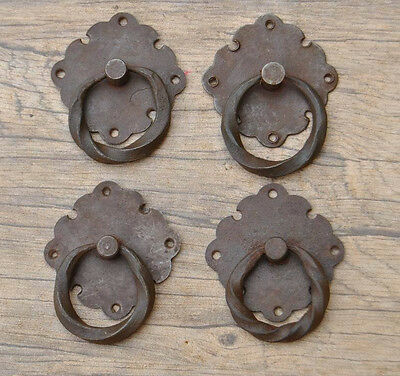 4pcs VINTAGE Victorian Iron Drawer Dresser Pull drop handle w plate Twisted 1.8""