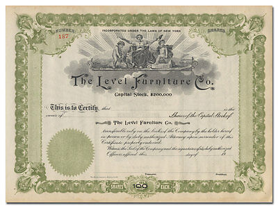 Level Furniture Co. Stock Certificate (Jamestown, New York)