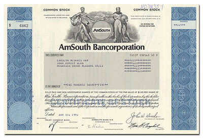 AmSouth Bancorporation Stock Certificate