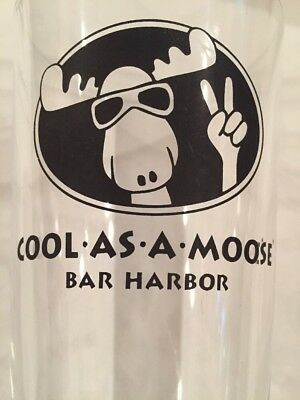 Bar Harbor MOOSE Drinking Glass COOL AS A MOOSE - Moose with sunglasses