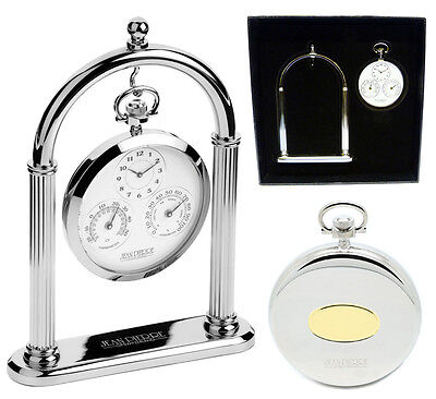 Jean Pierre Open Face Pocket Watch with Thermometer and Hygrometer on Arch Stand
