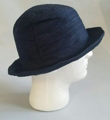 Emporio Armani Unisex Navy Blue 100% Silk Bucket Hat With Metal Brim Made  Italy 5de9bdba210