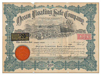 Ocean Floating Safe Company Stock Certificate - One of the Best Vignettes!