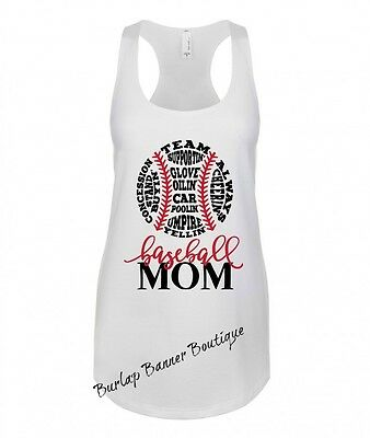 6778a685 Womans Racerback Tank Top Graphic Funny Saying BASEBALL MOM SPORTS FITNESS