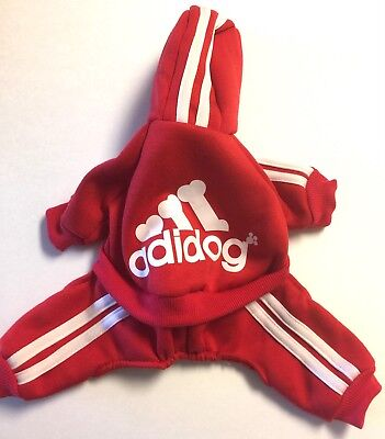 Adidog Pet Clothes for Dog Cat Puppy Coat Winter Sweatshirt Red-Size Small