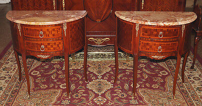 Best Pair Demilune Marble Top French Louis XVI Night Stands Tables RESTORED MINT