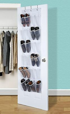 24 Pockets Over The Door Shoe Organizer Shoes Hanging Shelves Coset (gray)