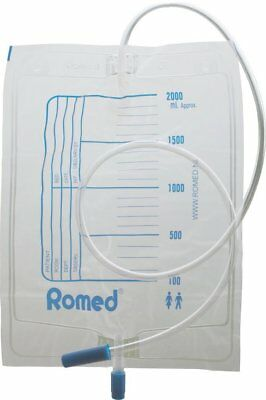 Romed Urine Bag 2.0 Litre with Drain Valve, 10 Pieces, Single, Sterile, Packed