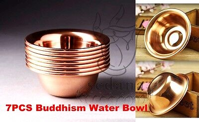 7PCS Tibet Buddhist Copper Water Offering Bowls Meditation Ritual Holy Vessel-01