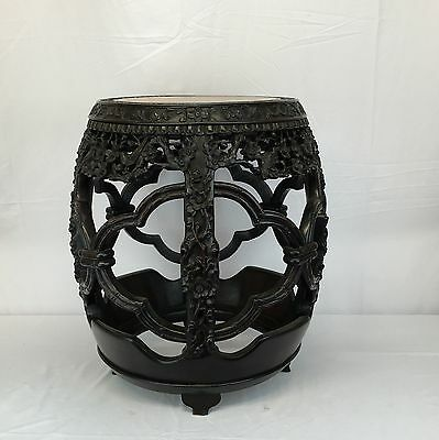 Most Unique 19th Century Chinese Handcarved Rosewood Drum Shaped Pedestal