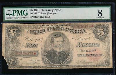 AC Fr 363 1891 $5 Treasury Coin Note THOMAS PMG 8 comment