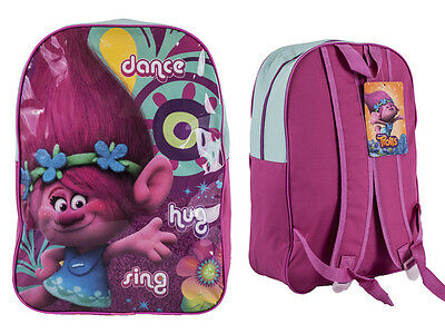 "Official Trolls ""Poppy"" Character Ex-Large School Backpack Pink"