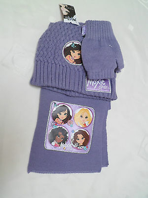 Lilac Purple Beanie Hat Scarf and gloves Set L