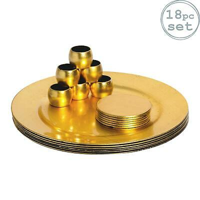 Round Charger Plates x6, Coasters x6 & Napkin Rings x6. Gold - Set Of 18