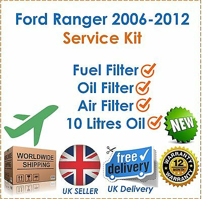 For Ford Ranger 2.3 3.0 TDCi 4x4 2006-2012 Oil Air & Fuel Filter + 10 Litres Oil