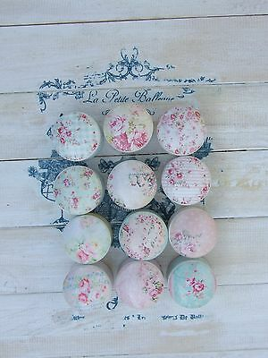 Flowers In Pastel Shades Shabby Chic Decoupage Knobs For Cupboards/ Drawers