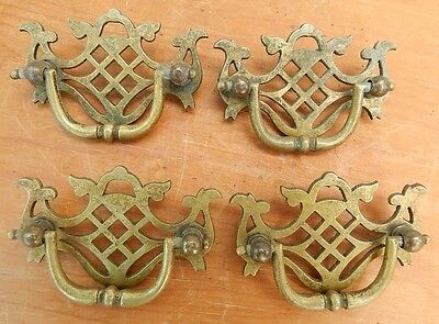 4 Antique 19th Century Cast Brass Chippendale Style Drawer Pulls Handles