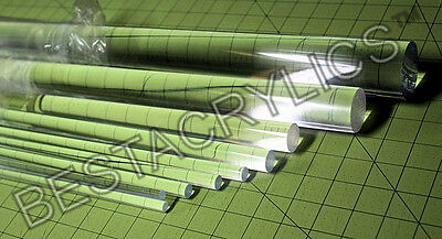 "30 Pc COMBO 1/8"" 3/16"" 1/4"" 5/16 3/8"" 1/2"" 5/8"" 3/4"" 1"" CLEAR ACRYLIC LUCITE ROD"