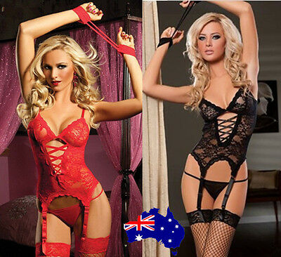 SexyChic Midnight Affair Floral Lace Camisole Lace-up Front Lingerie with Garter