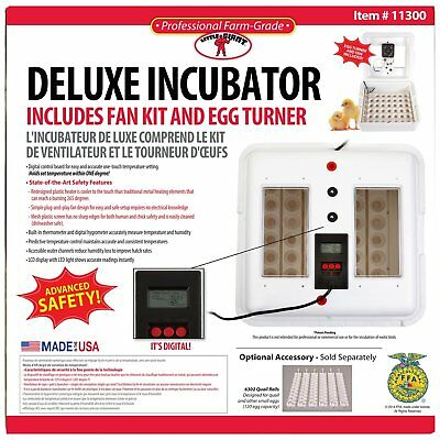 Deluxe Air Egg Incubator Little Giant 11300 w/Egg Turner & Fan Kit