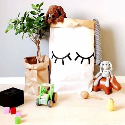 Cute Heavy Kraft Paper Storage Bags Recycle Laundry Bag Toys Clothes Bag YL
