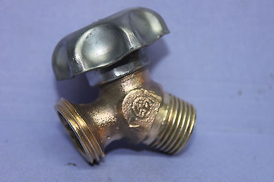 VERY NICE Antique WATER FAUCET w/ HOSE CONNECT - SOLID BRASS - Vintage Plumbing