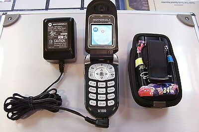 Jeff Gordon Nascar Motorola V180 Cell Phone At&t With Case & Charger