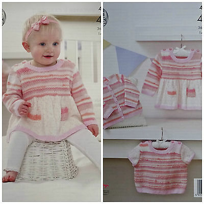 KNITTING PATTERN Baby Dress Cardigan & Jumper Baby Prints 4ply King Cole 4977