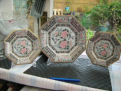 3 Japanese plates mid century 8 sided porcelain