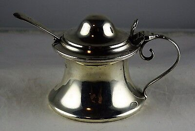 #10 Antique English Sterling Silver Mustard Pot w/Cobalt Liner, Spoon - L & S ?