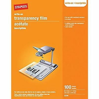 """Staples® brand Write-On Transparency Film, 100 Sheets, 8.5"""" x 11"""" (23246)"""