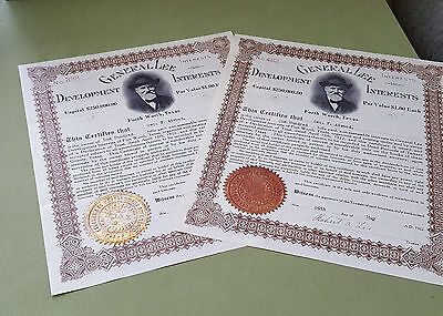 Set of 2 - General Lee Development Interests Certificate - Fort Worth, TX 1922